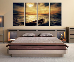 4 piece large pictures, bedroom canvas print, yellow artwork, boat art, sea multi panel canvas