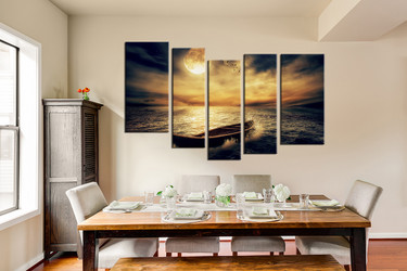 5 piece group canvas, dining room huge canvas art, yellow art, ocean multi panel art, boats canvas photography