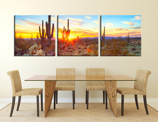 dining room canvas art prints, 3 piece canvas art prints, scenery saguaro cactus decor, panoramic scenery artwork, scenery multi panel canvas