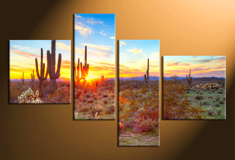 home decor, 4 piece canvas art prints, scenery artwork, scenery large canvas, saguaro cactus wall decor