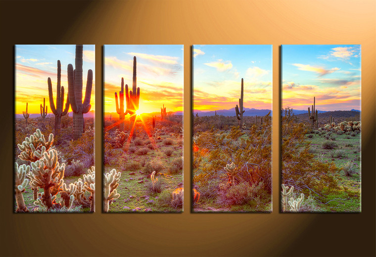 home decor, 4 piece canvas art prints, scenery canvas print, scenery wall art, saguaro cactus canvas wall art