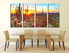 dining room art, 4 piece canvas art prints, scenery wall art, scenery photo canvas, saguaro cactus photo canvas