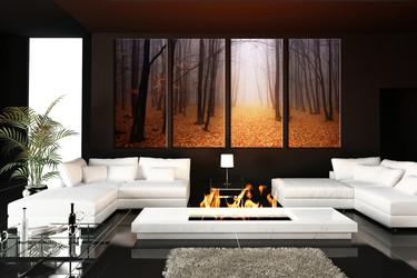 living room art, 4 piece canvas wall art, scenery multi panel canvas, nature pictures, orange autumn tree huge canvas art