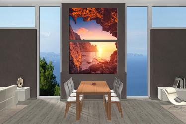 2 piece art, dining room group canvas, mountain huge canvas art, ocean wall decor, sunrise artwork