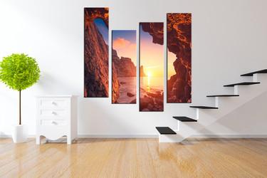4 piece canvas print, orange art, ocean wall decor, mountain large pictures, sunrise artwork