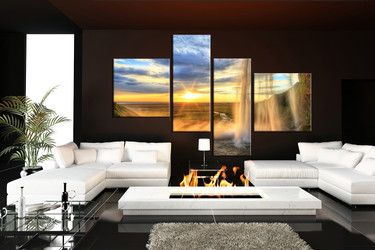 living room art, 4 piece pictures, waterfall multi panel canvas, mountain pictures, mountain huge canvas art