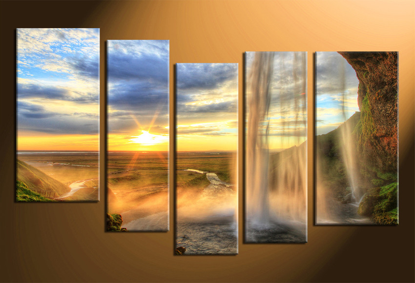 5 Piece Wall Art Mountain Group Canvas Landscape Sunrise Multi Panel Canvas Waterfall Large Pictures Yellow Large Pictures