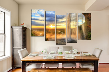 dining room art, 5 piece canvas art prints, scenery large canvas, landscape canvas art prints, waterfall canvas print
