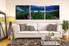 living room art, 3 piece canvas wall art, blue mountain photo canvas, mountain artwork, landscape panoramic group canvas