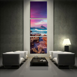 3 piece wall decor, living room art, mountain multi panel art, ocean canvas photography, purple large pictures