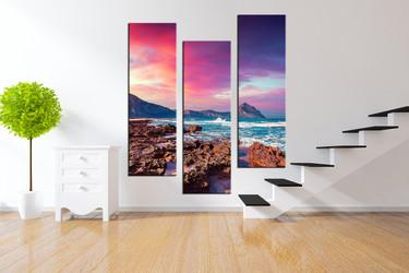 3 piece multi panel canvas, mountain photo canvas, ocean artwork, purple huge canvas print, sky wall decor