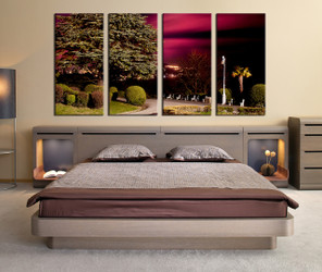 4 piece multi panel art, bedroom canvas art prints, scenery artwork, green photo canvas, tree huge canvas art