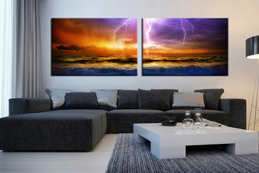 2 piece huge canvas print, living room large pictures, sea wall decor, orange artwork, thunderstorm art