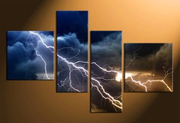home decor,4 piece canvas art prints, thunderstorm canvas print, night canvas print,  scenery photo canvas