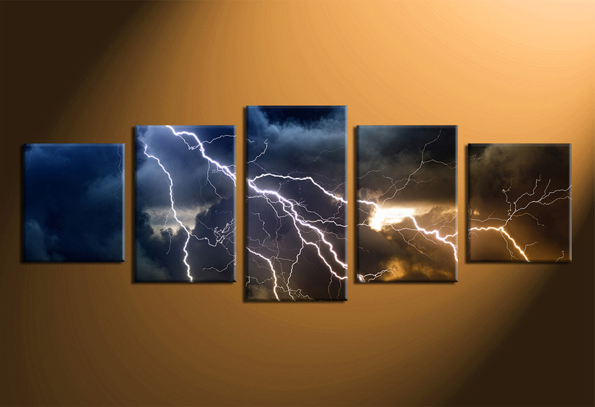 5 Piece Large Pictures Thunderstorm Canvas Wall Art Blue Clouds Canvas Photography Scenery Multi Panel Canvas Clouds Decor