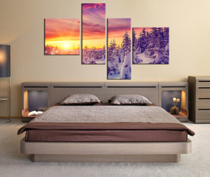 bedroom wall decor, 4 piece large canvas, mountain artwork, scenery huge pictures, mountain multi panel art