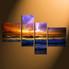 4 piece canvas wall art, home decor, ocean large pictures, orange artwork, thunderstorm canvas photography