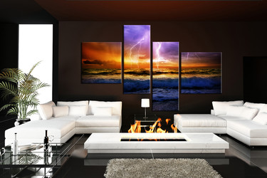 4 piece group canvas, living room art, sea huge pictures, orange multi panel canvas, thunderstorm huge canvas print