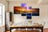 4 piece canvas print, dining room wall decor, ocean multi panel art, orange huge canvas art, thunderstorm art