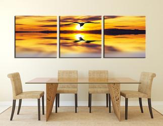 3 piece photo canvas, dining room multi panel art, yellow panoramic canvas photography, bird canvas wall art, wildlife decor