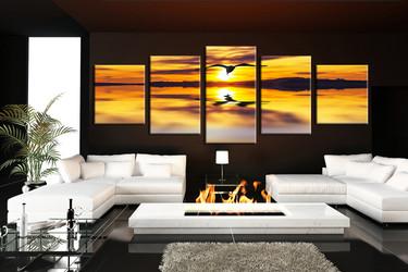 5 piece group canvas, panoramic bird huge canvas print, living room canvas print, bird canvas wall art, wildlife huge pictures, bird artwork
