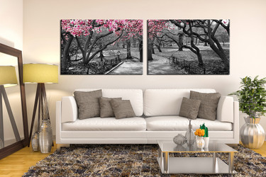 2 piece huge canvas art, living room canvas art prints, black and white art, scenery photo canvas