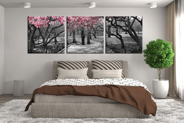3 piece huge pictures, black and white huge canvas print, bedroom canvas wall art, scenery large canvas