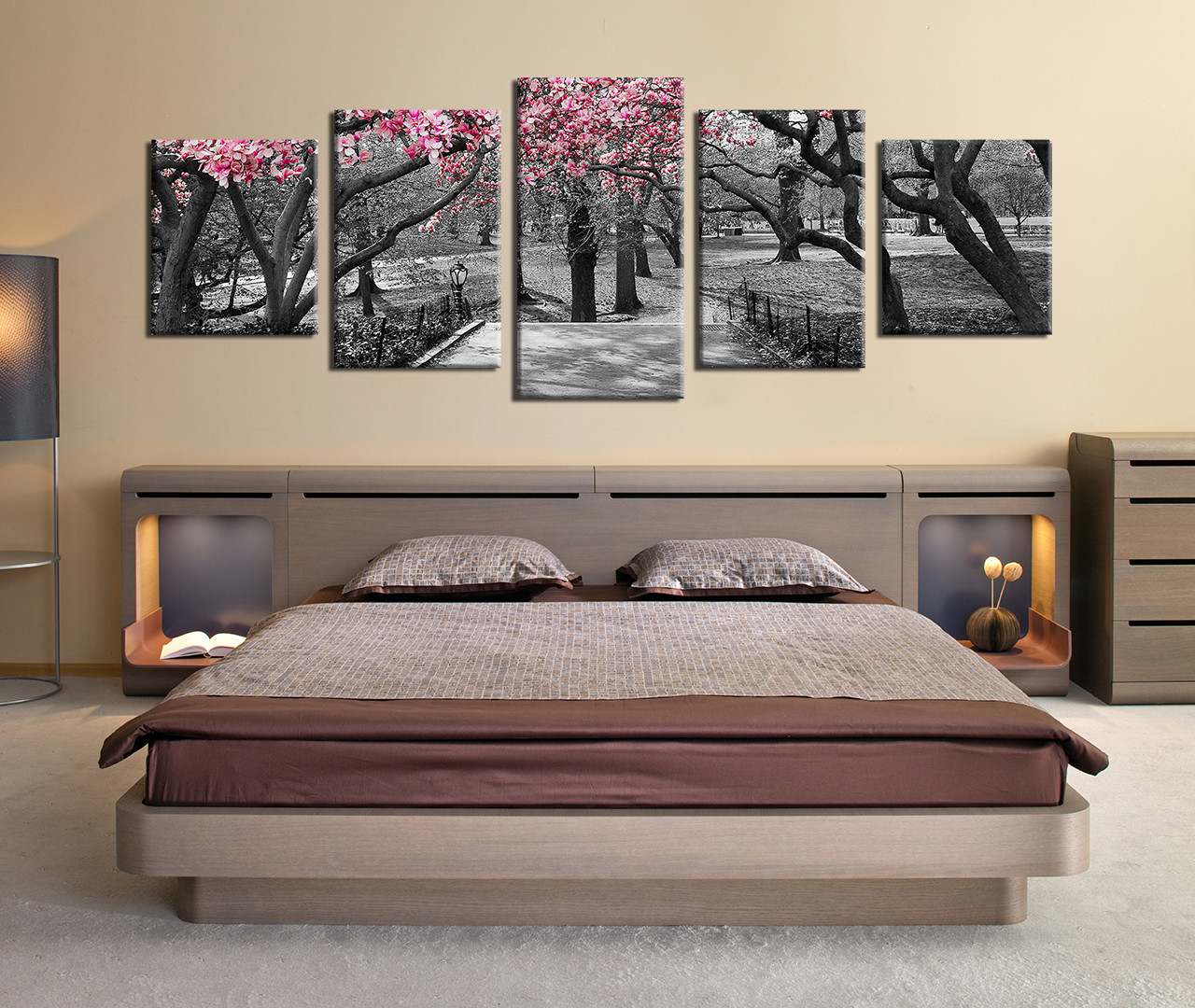 5 Piece Multi Panel Canvas, Grey Huge Pictures, Autumn Trees Wall Decor,  Panoramic Scenery Canvas Wall Art, Forest Photo Canvas, Nature Artwork