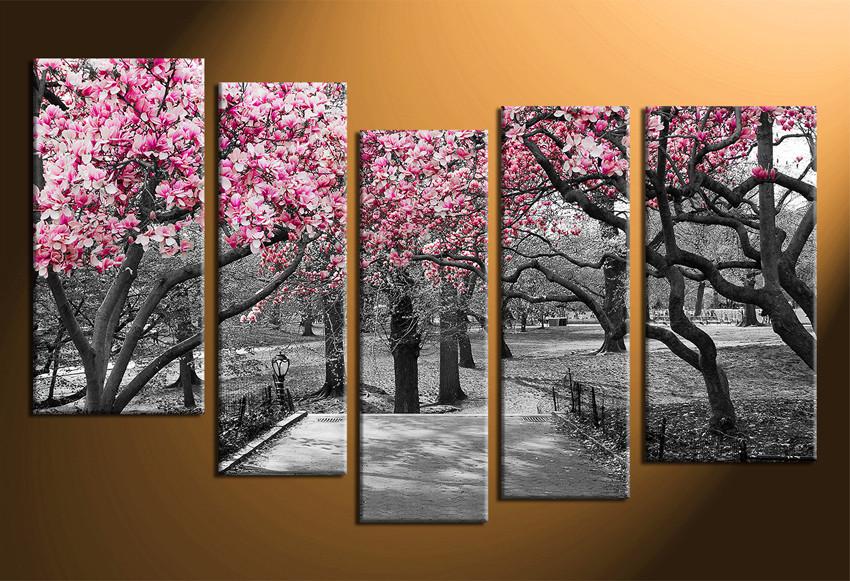 5 Piece Multi Panel Art Grey Large Pictures Autumn Trees