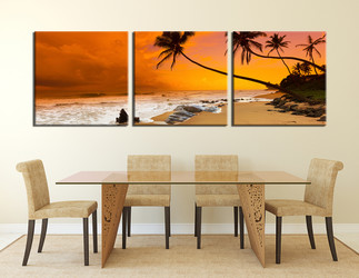 3 piece canvas print, dining room photo canvas, orange artwork, ocean art, panoramic trees huge canvas print
