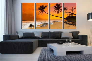 4 piece photo canvas, living room art, orange huge canvas art, ocean artwork, coconut tree canvas wall art