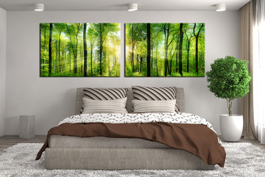 bedroom decor, 2 piece wall art, green nature multi panel art, scenery art, scenery canvas print