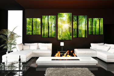 living room wall decor, 5 piece canvas art prints , green nature canvas print, scenery huge pictures, forest wall art
