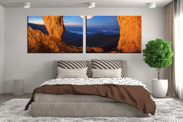 2 piece large pictures, orange landscape  canvas print, bedroom huge canvas print, landscape art