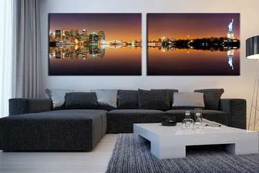 2 piece multi panel art, living room canvas print, city huge canvas print, brown photo canvas, panoramic large pictures