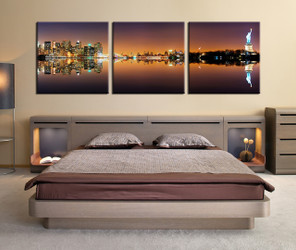 3 piece huge pictures, bedroom artwork, night city multi panel canvas, brown huge canvas art, panoramic canvas wall art