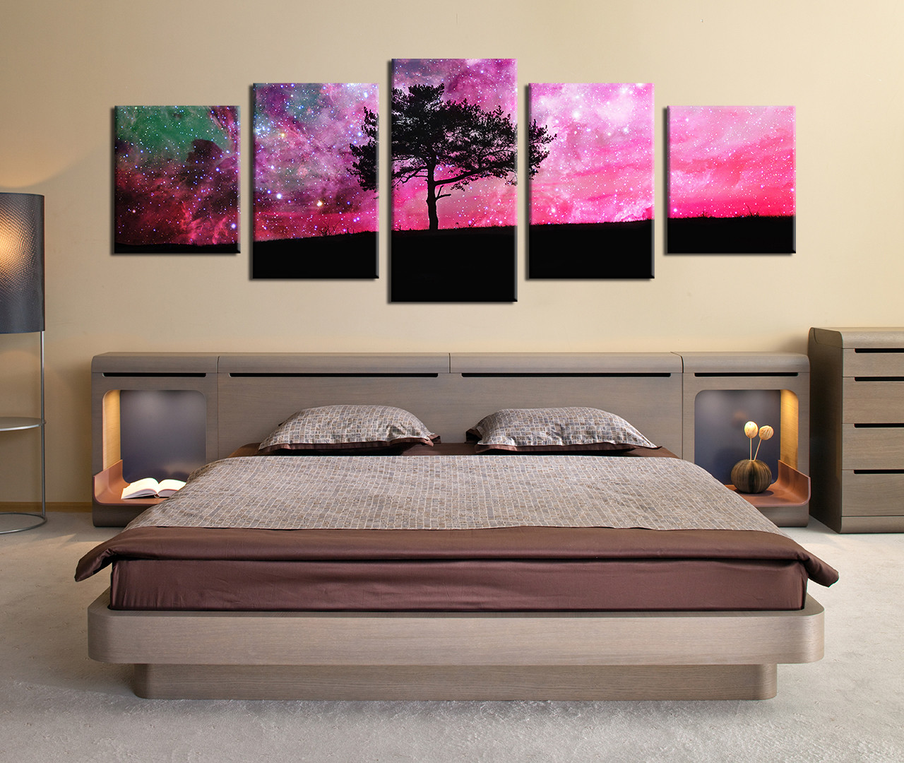 5 Piece Large Pictures, Panoramic Canvas Photography, Trees Artwork Purple  Sky Decor, Tree Canvas Wall Art, Nature Multi Panel Canvas