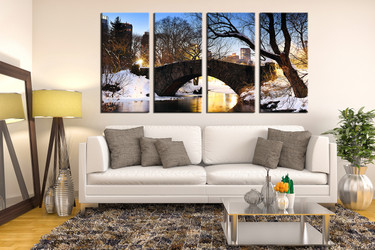 living room wall decor, 4 piece canvas art prints, nature canvas print, scenery huge pictures, forest wall art