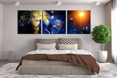 3 piece canvas wall art, bedroom modern artwork, blue space modern pictures,  canvas print, panoramic modern artwork