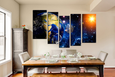 5 piece multi panel art, dining room canvas photography, blue space modern  wall art, modern large pictures