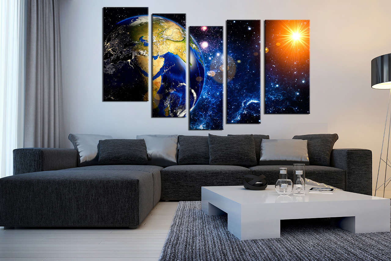 Charming 5 Piece Wall Art, Living Room Large Canvas, Modern Huge Pictures, Blue Space
