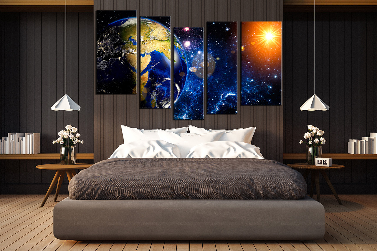 5 Piece Wall Decor, Space Multi Panel Art, Earth Sun Canvas ...