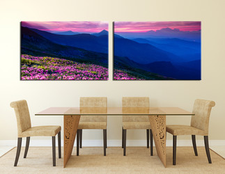 2 piece canvas photography, dining room wall decor, landscape canvas print, blue mountain photo canvas