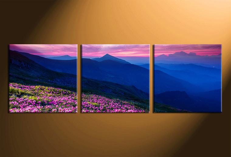 3 piece large pictures, home decor, blue mountain wall decor, landscape art, panoramic artwork
