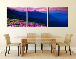 3 piece flowers photo canvas, dining room wall decor, blue mountain multi panel art, landscape large canvas