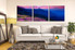 3 piece canvas wall art, living room huge pictures, blue mountain canvas photography, landscape panoramic multi panel canvas