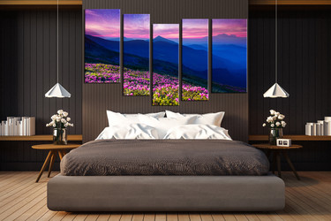 5 piece photo canvas, bedroom multi panel canvas, orange landscape artwork, bird decor, landscape canvas photography