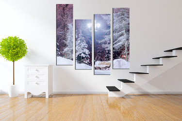 scenery wall decor, 4 piece huge pictures, white snow group canvas, scenery huge pictures, nature trees pictures