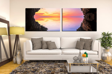 living room wall art, 2 Piece huge canvas art, mountain multi panel art, landscape wall art, sea panoramic huge pictures