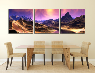 3 piece canvas wall art, dining room wall decor, landscape multi panel canvas, purple artwork, mountain photo canvas